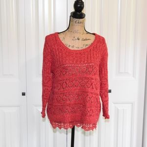American Rag Knit Top with Lace Hem Size L